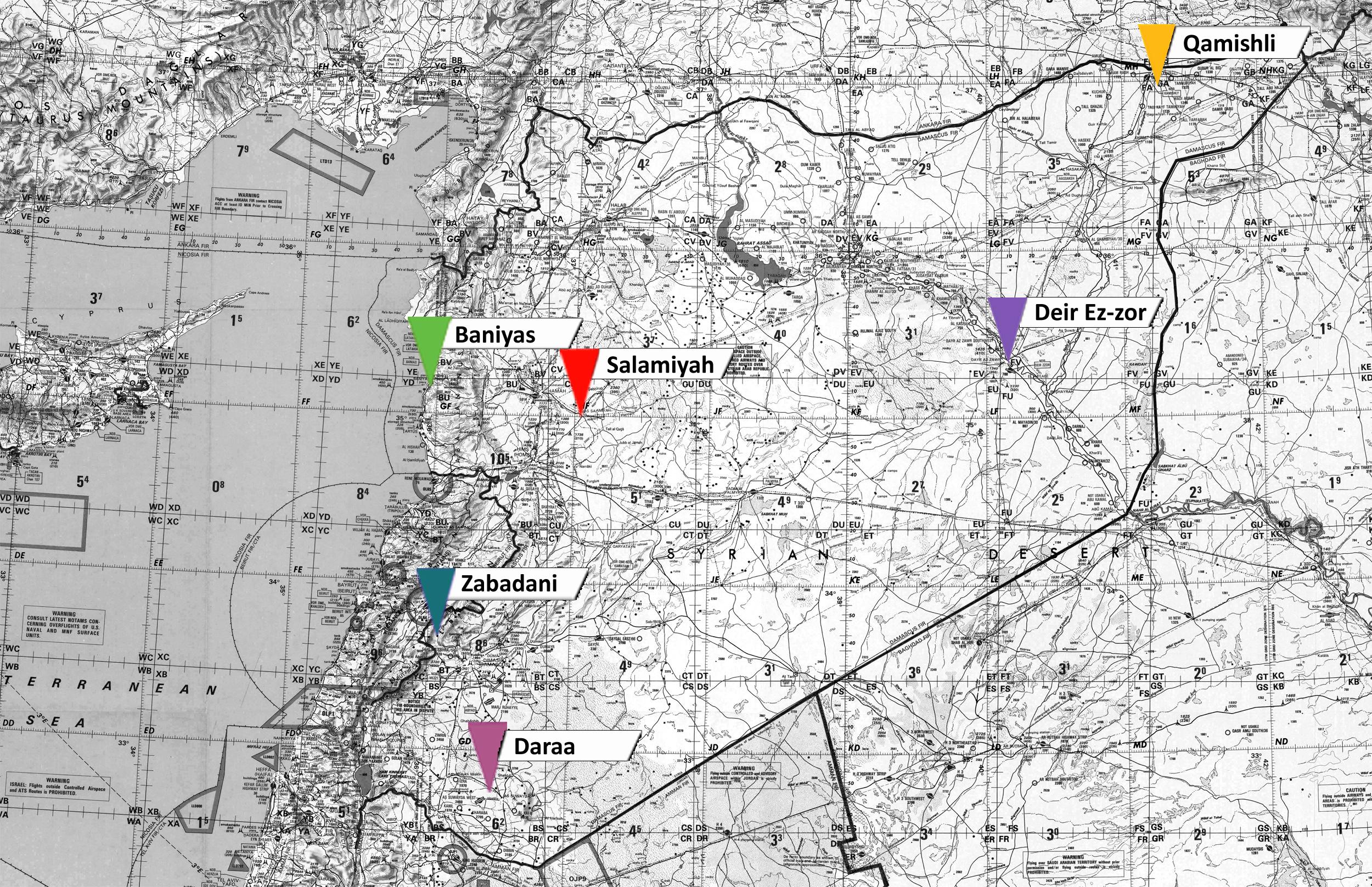 Cities In Revolution SyriaUntold حكاية ما انحكت - Qamishli map